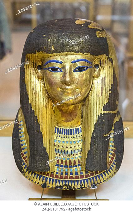 Egypt, Cairo, Egyptian Museum, from the tomb of Yuya and Thuya in Luxor : Gilded mask of Thuya