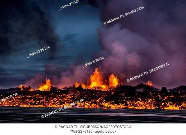 Glowing lava from the eruption at the Holuhraun Fissure, near the Bardarbunga Volcano. August 29, 2014 a fissure eruption started in Holuhraun at the northern...