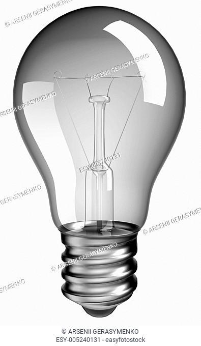 Solution or idea: lightbulb over white