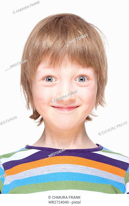 Portrait of a Boy with Blond Hair Smiling - Isolated on White