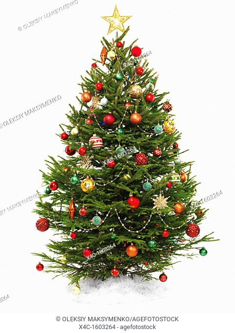 Beautiful decorated Christmas tree with a star topper isolated on white background