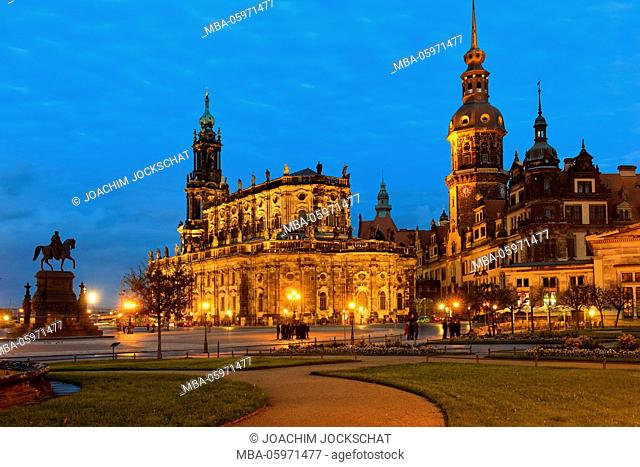 Theaterplatz, square with Dresden Cathedral and castle, Europe, Germany, Dresden, Saxony