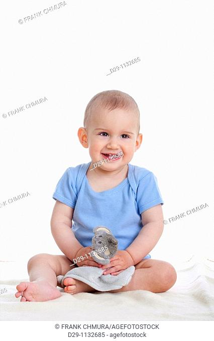 portrait of sweet little baby boy - isolated on white