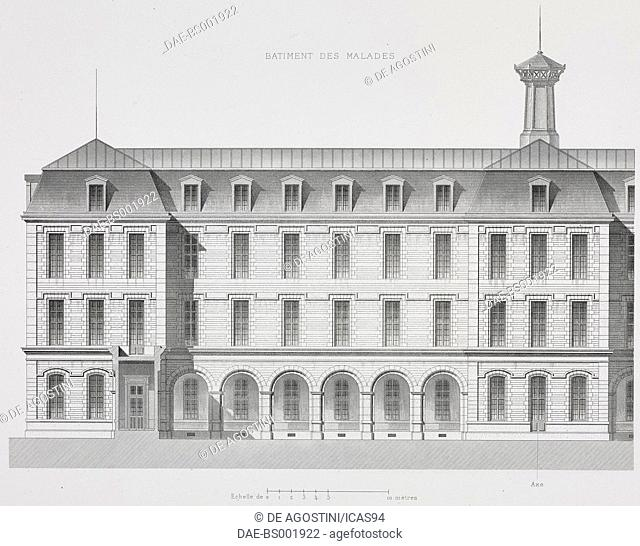 Elevation of the Hopital de Menilmontant (Hopital Tenon) in Paris, designed by Marie-Etienne Billon, France, engraving by Bury after a drawing by Mignan