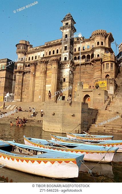 Varanasi, ghats on the Ganges. Uttar Pradesh. India