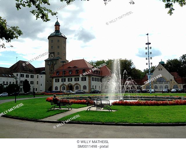 Entrance with fountain from the District Hospital Mainkofen at Deggendorf, Bavaria, Germany, Europe