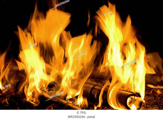 fire flame texture, concept of hot or warm night