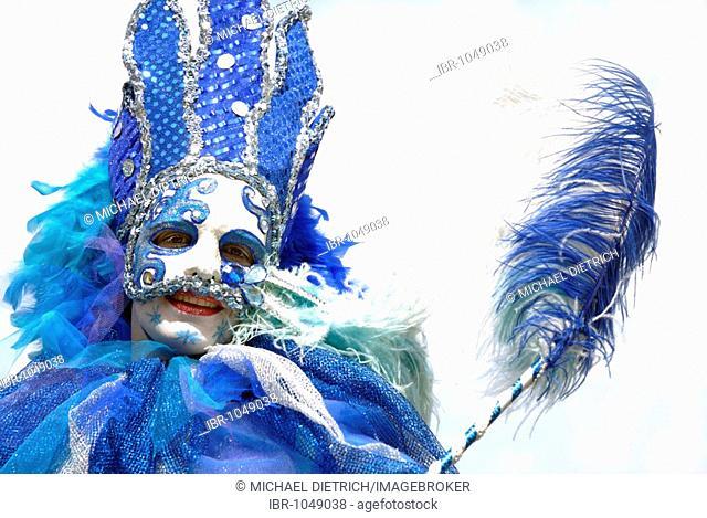 Street performer dressed up with costume and mask on the Kiel Week 2008, Kiel, Schleswig-Holstein, Germany, Europe