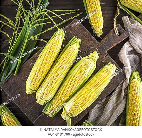 Above , Agriculture , Background , Brown , Closeup , Cob , Corn , Cutting board , Farm , Food , Fresh , Golden , Grain , Green , Harvest , Healthy , Ingredient