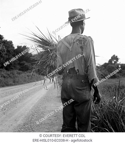 African American man in living in rural Mississippi near Vicksburg on a road where he has gathered some grass. His ragged clothing indicates his poverty