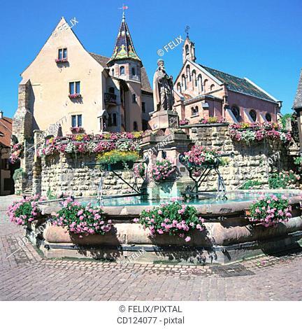 Place du Château. Eguisheim. Alsatian Wine Road. France