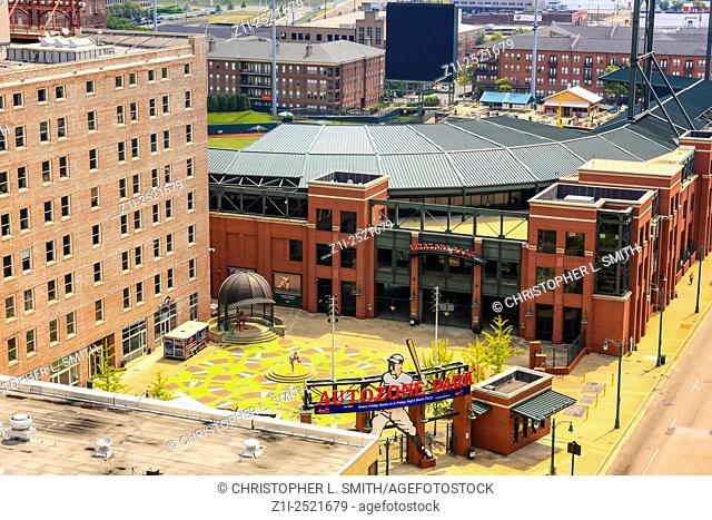 Aerial view of the Autozone Park baseball stadium in Memphis TN