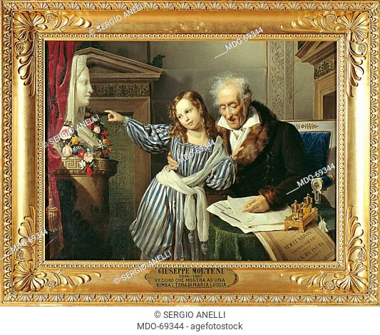 Old Man Showing His Little Niece the Herm of Maria Luigia, by Giuseppe Molteni, 1830, 19th Century, oil on canvas, cm 99,1 x 130