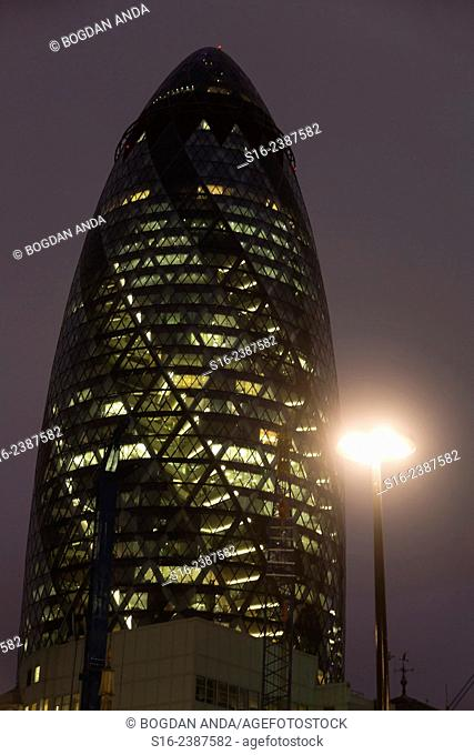 London, UK, The City - Gherkin Building at night