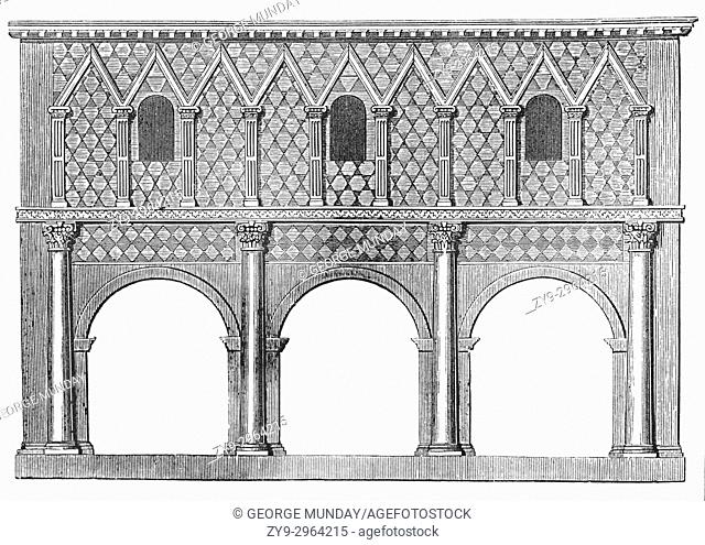An architectural drawing of the portico of the Imperial Abbey of Lorsch (founded in 764) in the District of Bergstrasse, state of Hesse, Germany