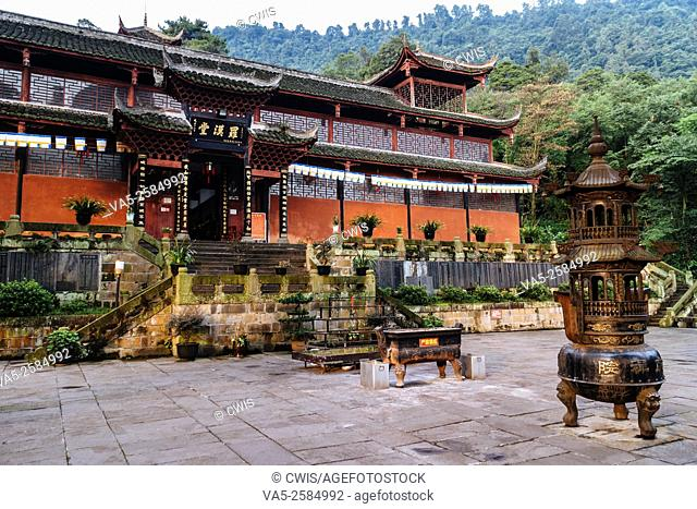 Emei Mountain, Sichuan province, China - The building of Fuhu Monastery, an famous nunnery in China