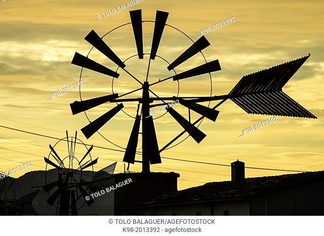 mill estraccion of water, Pla de Sant Jordi, Palma, mallorca, islands baleares, Spain, europe