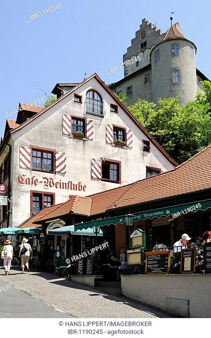 City center and castle of Meersburg, Lake Constance, Baden-Wuerttemberg, Germany, Europe