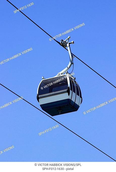 Cable car against a blue sky