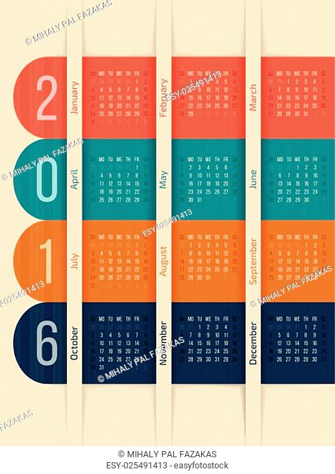 New calendar design with color ribbons for year 2016