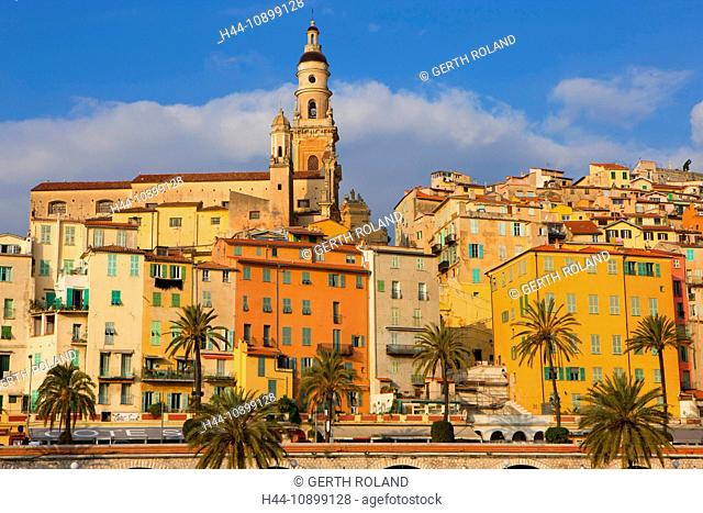 Menton, France, Europe, Côte d'Azur, Provence, Alpes-Maritimes, town, city, Old Town, houses, homes, church, palms, morning light