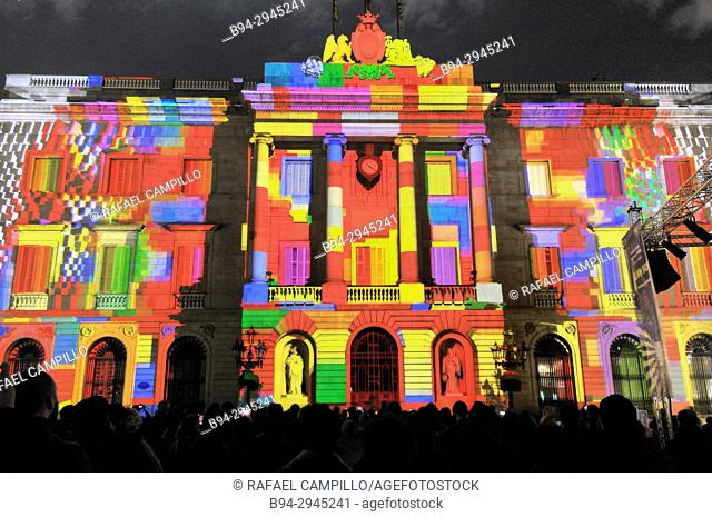 Mapping on the Town hall building. Celebration of saint Eulalia martyr, February 12. 290-303 AD. Canonized 633 AD. Copatron of Barcelona. Raval area