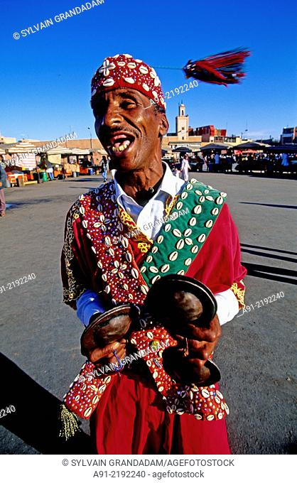 Gnaoua playing music on the Jemaa El-Fna square the most lively place, night and day in Marrakech,Morocco