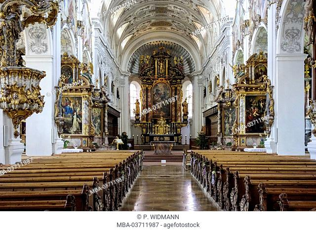Guelphs cathedral, nave with fresco paintings in the rococo style in Steingaden, Upper Bavaria, Germany