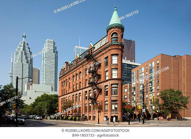 Old Gooderham Flatiron Building With New Td Bank And Brookfield Towers Front Street Toronto Ontario Canada