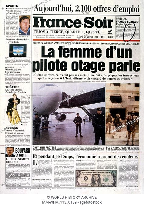 headline in 'France-Soir' a French newspaper, 2nnd January 1991, concerning prisoners of war used as human shields, during the Gulf War (2 August 1990 - 28...