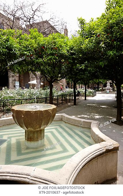 fountain in the courtyard of the National Library of Catalonia Barcelona Catalonia Spain
