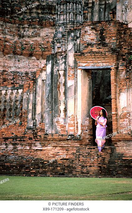 Woman at ruins of Ayutthaya. Thailand