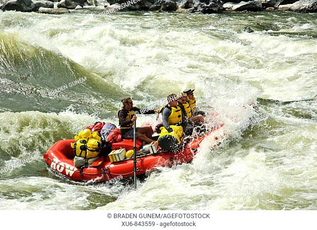 A raft running Granite rapid on the Snake River in Hells canyon Idaho, United States