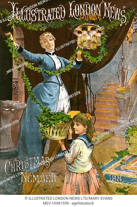 Front cover of The Illustrated London News Christmas Number for 1887 with a lady decorating her house with garlands of greenery
