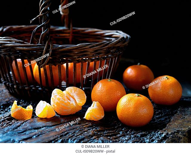 Fresh organic fruit, tiny tangerines