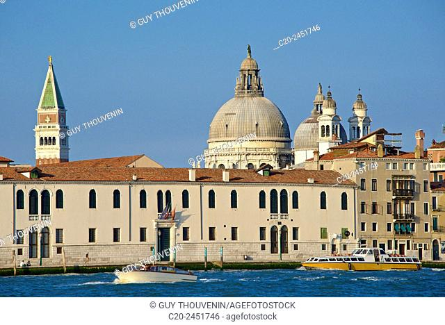 Campanile San Marco and Salute Church domes, seen from Giudecca island across canal, Venice, Venetia, Italy