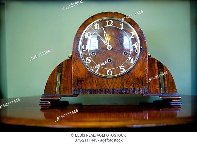 Art Deco, vintage clock on a table in a house in England, UK, Europe