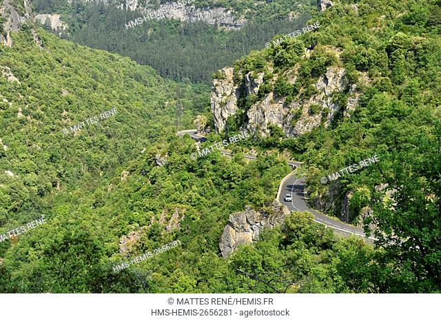 France, Gard, the Causses and the Cevennes, Mediterranean agro pastoral cultural landscape, listed as World Heritage by UNESCO, the gorges of the Vis river