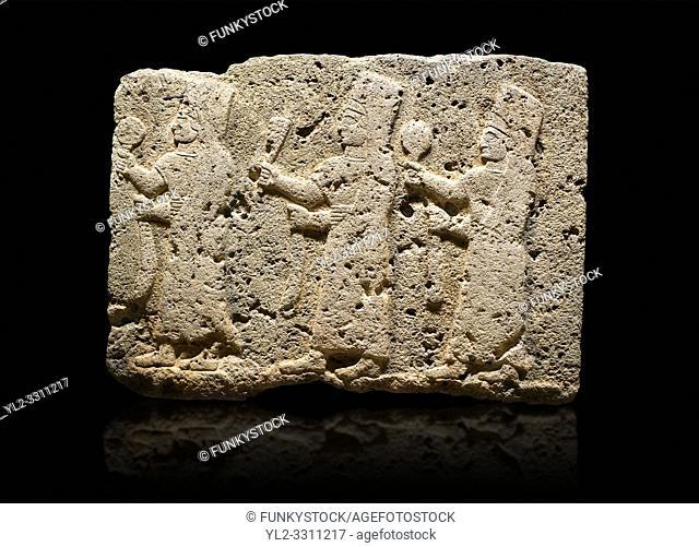 Hittite monumental relief sculpted orthostat stone panel of a Procession Limestone, Karkamıs, (Kargamıs), Carchemish (Karkemish), 900-700 B. C