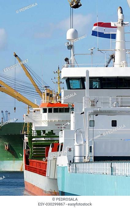 cargo ships in the port of Aviles, Asturias, Spain