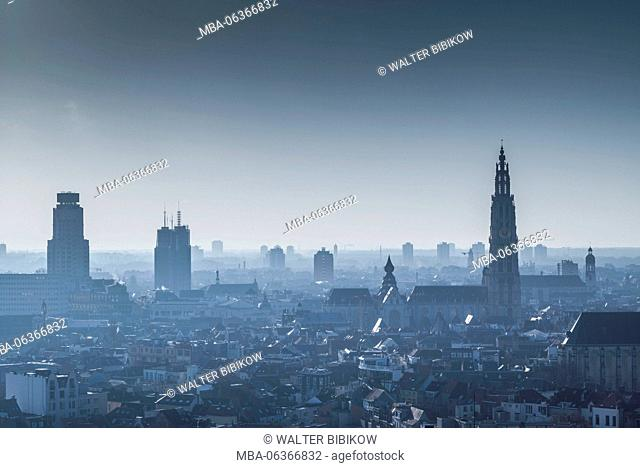 Belgium, Antwerp, elevated city skyline