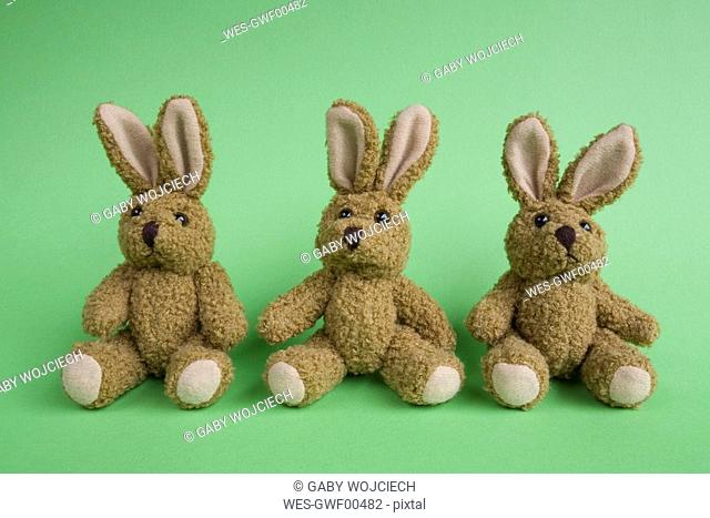 Three stuffed Easter bunnies, close-up