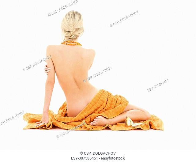 beautiful lady with orange towels