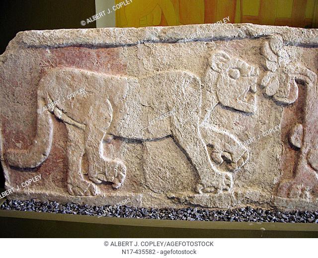 Maya jaguar relief in museum, Mérida. Yucatán, Mexico