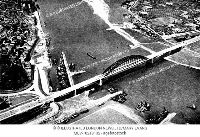 Aerial photograph showing the road bridge across the Waal at Nijmegen, Holland, 1944.  This photograph was taken prior to Operation 'Market Garden'; the...