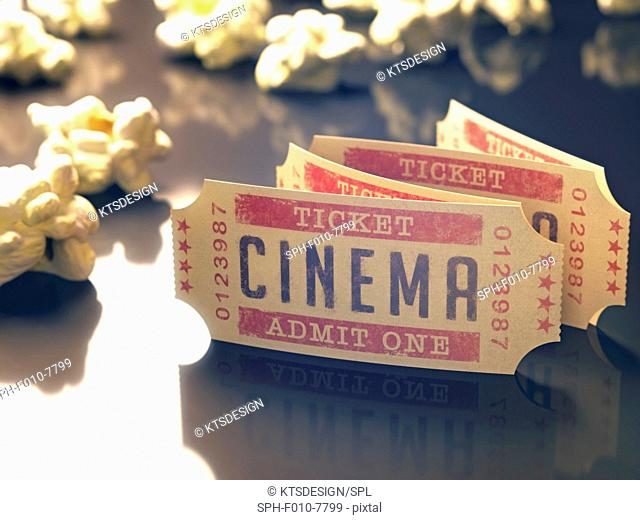Cinema tickets and popcorn, computer illustration