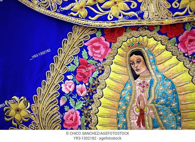 Detail of an embroidered banner of the Our Lady of Guadalupe is displayed in Mexico City, November 16, 2008