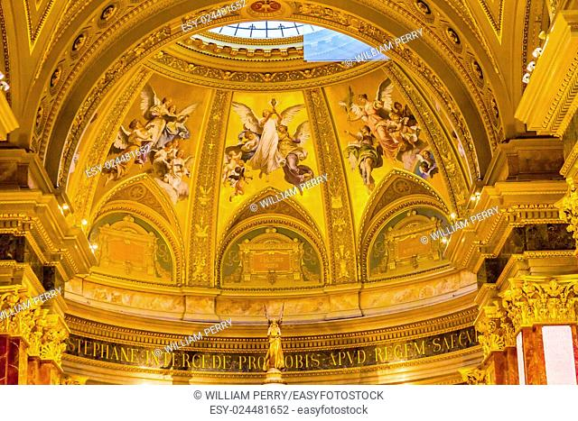 Angels Mosaics Basilica Arch Saint Stephens Cathedral Budapest Hungary. Saint Stephens named after King Stephens who brought Christianity to Hungary