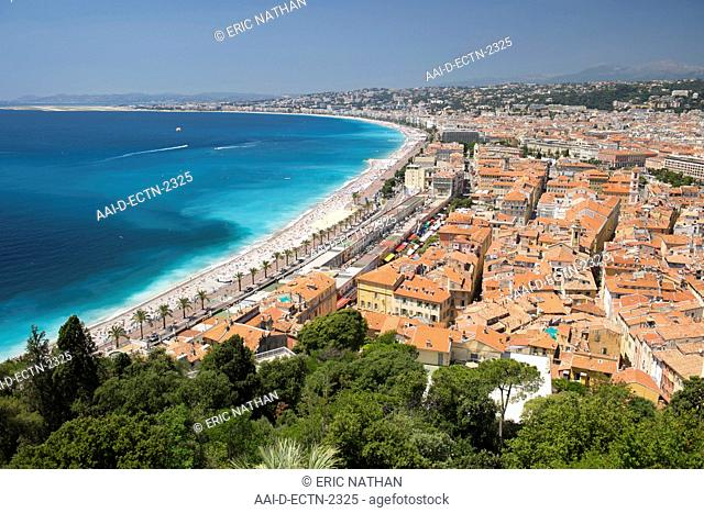 The Baie des Anges Bay of Angels, the promenade and beaches and the city of Nice on the Meditteranean coast in southern France