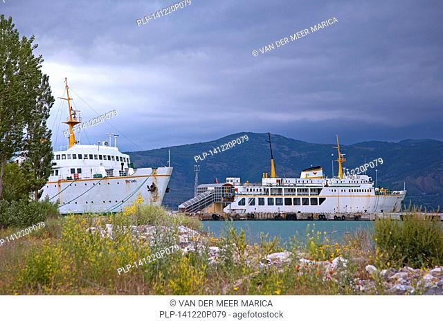 Train ferry across Lake Van between the cities Tatvan and Van, Turkey